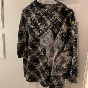 Anthropologie Plaid + Floral Angora Sweater